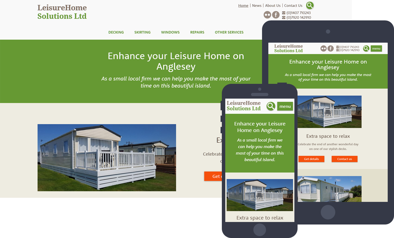 LeisureHome Solutions mobile friendly website